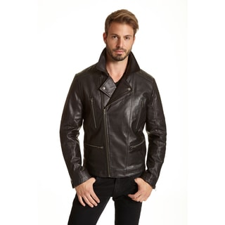 Excelled Men's Big and Tall Leather Moto Jacket