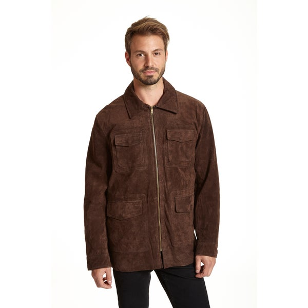 Excelled Men's Suede Shirt Jacket - Free Shipping Today ...