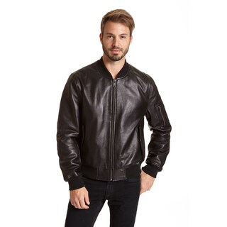 Excelled Men's Leather Bomber Jacket