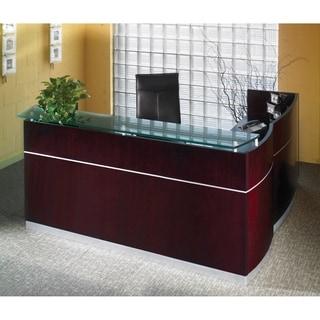 Mayline Napoli Series Veneer/Tempered Glass Reception Desk (W/B/B/F, F/F)