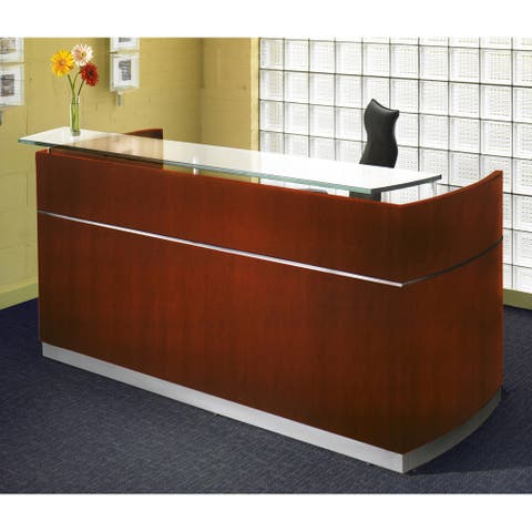 Mayline Napoli Freestanding Reception Station with Glass Transaction Counter Top