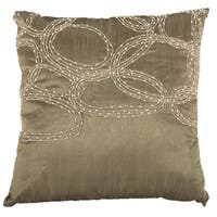 Brown Poly Silk 18-inch x 18-inch Beaded Pillow