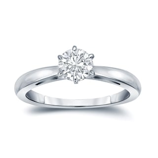 Auriya 14k Gold 1/4ct TDW Round-Cut Diamond 6-Prong Solitaire Engagement Ring