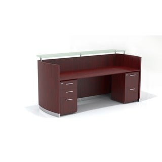 Mayline Medina Freestanding Reception Station with Glass Transaction Counter Top, File Pedestal BBF, File Pedestal FF