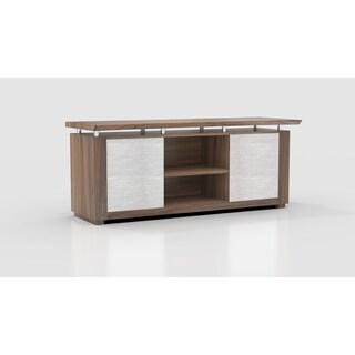 Mayline Sterling Series 72-inch Low Wall Cabinet Executive Desk With Acrylic Doors