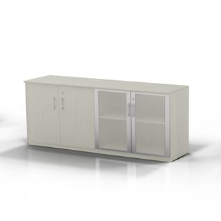 Mayline Medina Low Wall Cabinet With 2 Wood And 2 Glass Doors