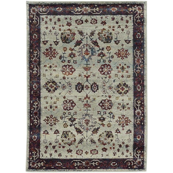 "Bordered Traditional Stone/ Red Rug (3' 3 x 5' 2) - 3'3"" x 5'3"""