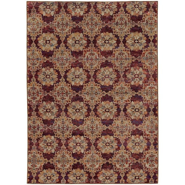 Floral Panel Medallions Red/ Gold Rug (3' 3 x  5' 2)