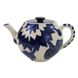 Handmade Le Souk Ceramique Jinane Stoneware Teapot (Tunisia)