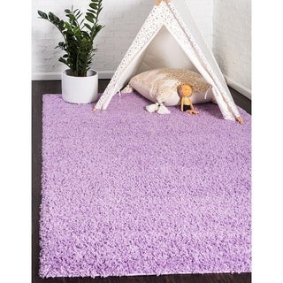 Turkish Solid Shag Lilac Polypropylene Rug (6' x 8' 11)
