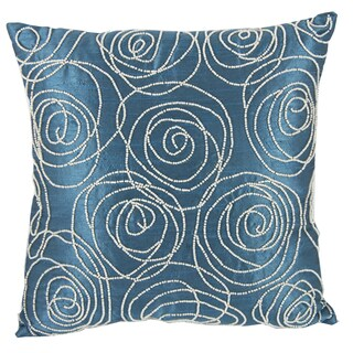 Aqua Blue Poly Silk Faux Pearl-embellished 18-inch Square Pillow