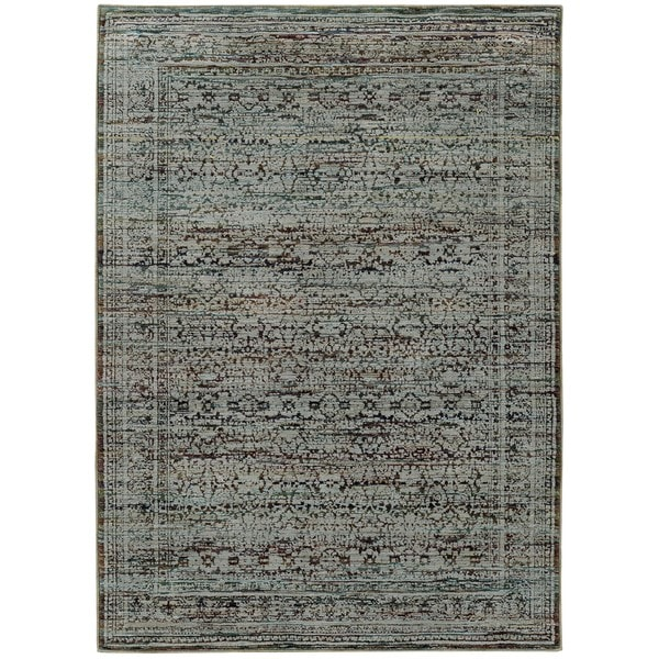 Antiqued Traditional Blue/ Purple Rug (3' 3 x  5' 2)