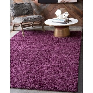 Turkish Solid Shag Eggplant Purple Polypropylene Rug (6' x 8' 11)