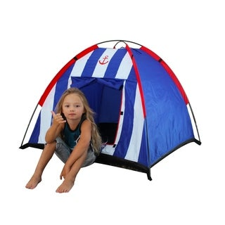 Nautical Blue Striped Dome Tent with Carrying Case (Option: White)
