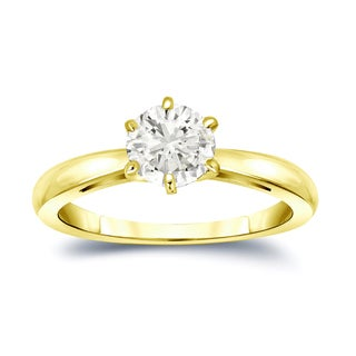 Auriya 14k Gold 1ct TDW Round-Cut Diamond 6-Prong Solitaire Engagement Ring (J-K, I1-I2)