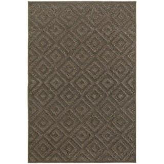 Diamond Plush Brown/ Grey Rug (3'10 x  5' 5)
