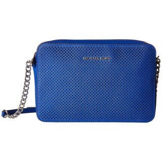 Michael Kors Jet Set Perforated Electric Blue Saffiano Leather Large Cross-Body Bag