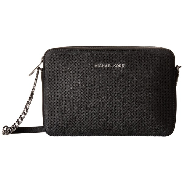 62fb4cfcacef8 Michael Kors Jet Set Black Saffiano Leather Perforated Large Crossbody Bag
