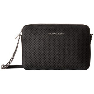 Michael Kors Jet Set Black Saffiano Leather Perforated Large Crossbody Bag