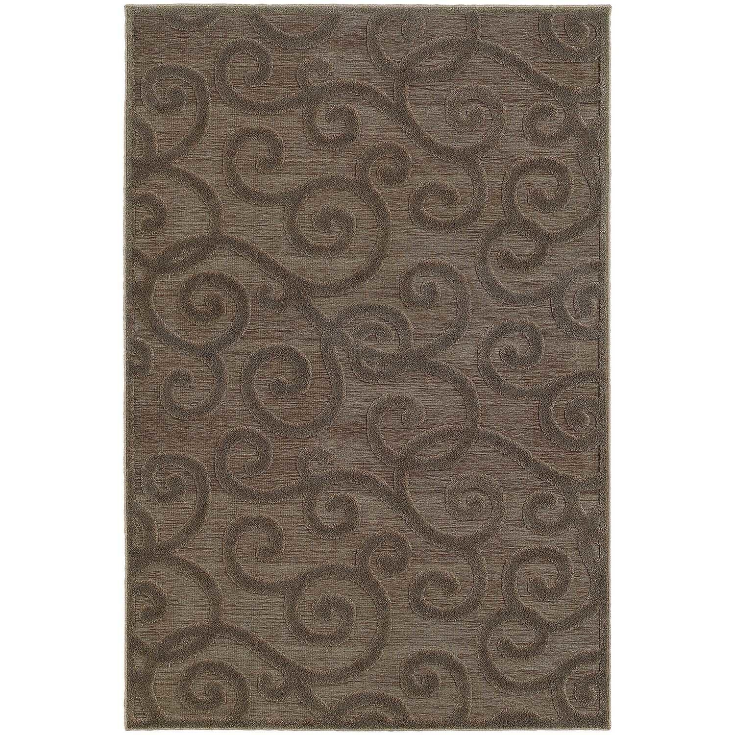 Lush Scrolls Brown/ Grey Rug - 4' x 6'