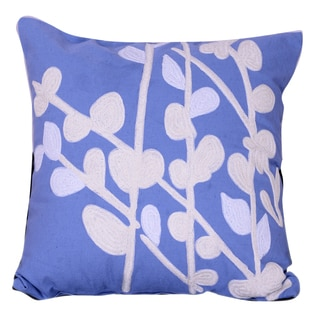 Blue Floral Embroidered 18-inch x 18-inch Pillow