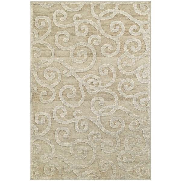 Lush Scrolls Sand/ Beige Rug (3'10 x  5' 5)