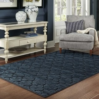 Scalloped Lattice Luxury Navy/ Blue Rug (3'10 x  5' 5)