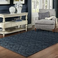 Scalloped Lattice Luxury Navy/ Blue Rug - 4' x 6'