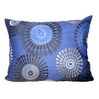 Blue Polyester 16-inch x 20-inch Embroidered Pillow