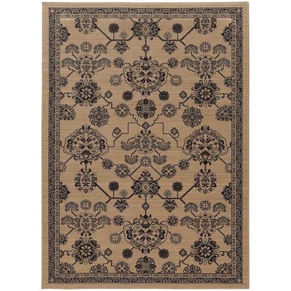 Updated Persian Beige/ Grey Rug (3'10 x 5' 5)