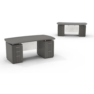 Mayline Sterling Series 72-inch Wide Double-pedestal Desk with 1 Box File and 1 File Cabinet