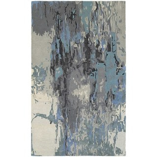 Glacial Abstract Blue/ Grey Rug (3' 6 x 5' 6)