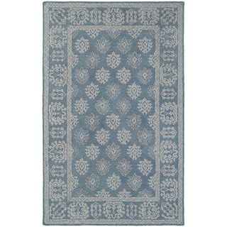 Bordered Traditional Loop Pile Blue/ Grey Rug (3' 6 x 5' 6)