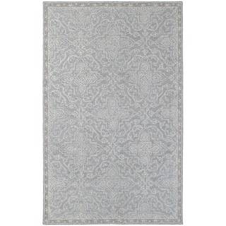 Updated Panel Medallion Loop Pile Grey/ Blue Rug (3' 6 x 5' 6)
