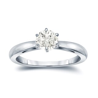 Auriya 14k Gold 1/3ct TDW Round 6-Prong Diamond Solitaire Engagement Ring (More options available)