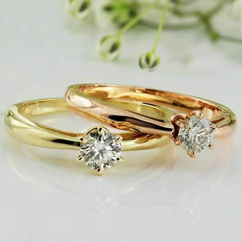 Auriya 1/3 carat TW Round Solitaire Diamond Engagement Ring 14k Gold 6 Prong