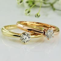 Auriya 14k Gold 1/3ct TDW Round 6-Prong Solitaire Diamond Engagement Ring