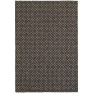 StyleHaven Lattice Grey/ Charcoal Indoor-Outdoor Area Rug (3'3x5')