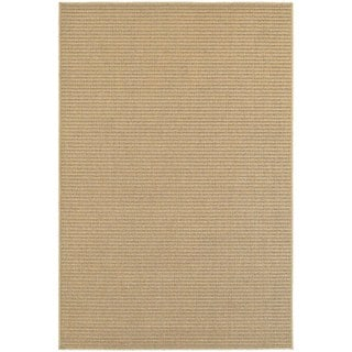 StyleHaven Striped Sand/ Tan Indoor-Outdoor Area Rug (3'3x5')