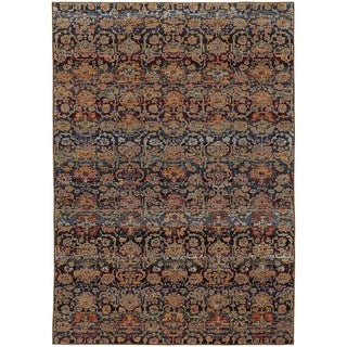 Floral Ombre Multi/ Blue Rug (5' 3 x 7' 3)