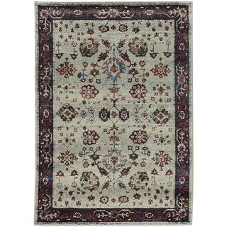 Bordered Traditional Stone/ Red Rug (5' 3 x 7' 3)