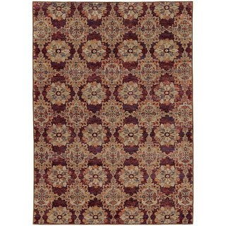 Floral Panel Medallions Red/ Gold Rug (5' 3 x  7' 3)