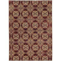 Floral Panel Medallions Red/ Gold Rug - 5'3 x 7'3