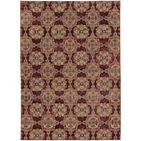Floral Panel Medallions Red/ Gold Rug - 6'7 x 9'6