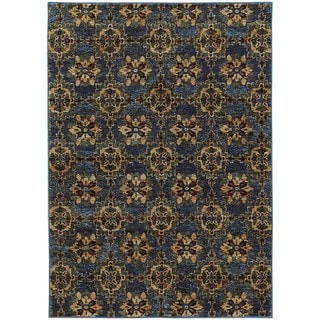 Floral Panel Medallions Blue/ Gold Rug (5' 3 x 7' 3)