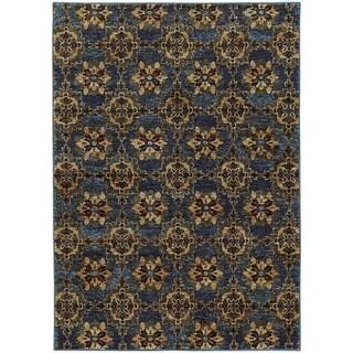 Floral Panel Medallions Blue/ Gold Rug (6' 7 x 9' 6)