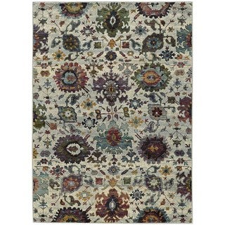 Updated Traditional Floral Ikat Stone/ Multi Rug (5' 3 x 7' 3)