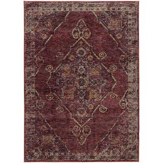 Antiqued Traditional Medallion Red/ Gold Rug (5' 3 x  7' 3)