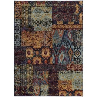 Patchwork Ikat Multi/ Blue Rug (5' 3 x 7' 3)