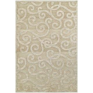 Lush Scrolls Sand/ Beige Rug (5' 3 x 7' 6)